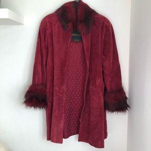 Vintage Suede Fur Trim Coat